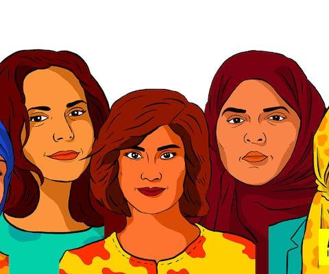 Iman al-Nafjan, Aziza al-Youssef en Ruqayyah al-Mhareb, die opkwamen voor de rechten van vrouwen zijn in Saudi-Arabië vrijgelaten Loujain al-Hathloul, Nassima al-Sada en Samar Badawi zitten nog vast.
