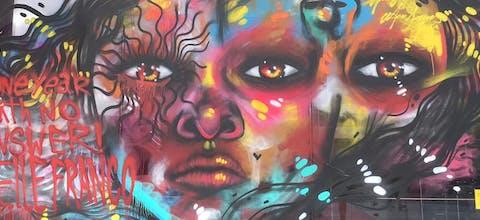 Graffiti voor Marielle Franco op het Stedelijk Museum in Amsterdam