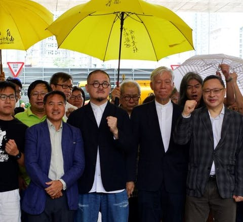 Leiders van de Umbrella Movement protesten in Hong Kong, 2018