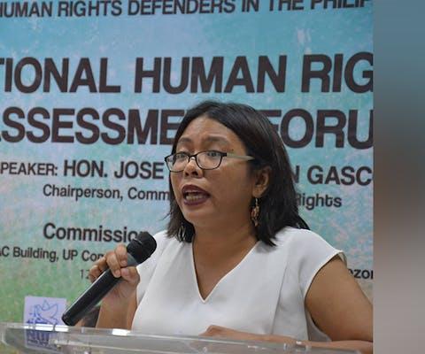 Mensenrechtenverdediger Cristina Palabay uit de Filipijnen ontving een doodsbedreiging.