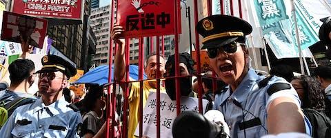Activisten tegen de controversiële plannen voor een nieuwe uitleveringswet in Hongkong