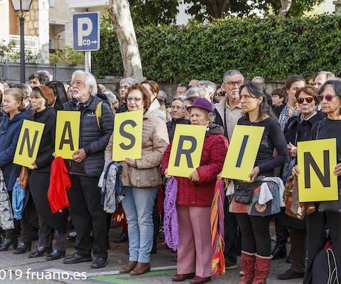 Meer dan 1 miljoen mensen uit de hele wereld hebben hun grote verontwaardiging uitgesproken over de veroordeling van Nasrin Sotoudeh uit Iran, zoals in de Spaanse hoofdstad Madrid.