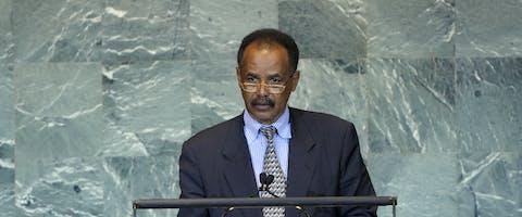 De Eritrese president Isaias Afewerki bij de VN