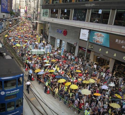 Protest op 28 april 2019 in Hongkong tegen de plannen voor een nieuwe uitleveringswet