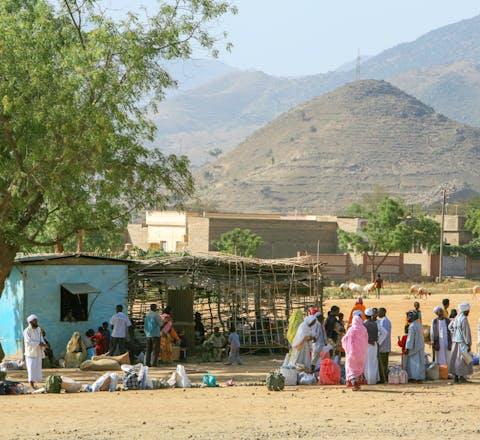 Dorpsbewoners en handelaren bij de markt van het dorp Ghina, Eritrea