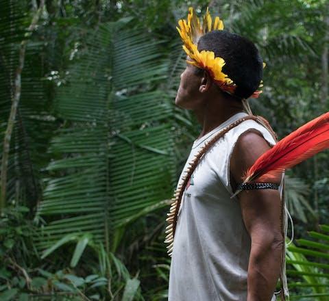 Een inheemse man patrouilleert in de Amazone om illegal landroof te voorkomen