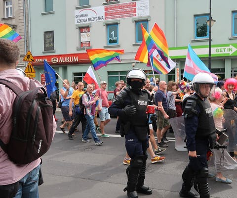 Pride walk in Plock, Polen. Aug 2019