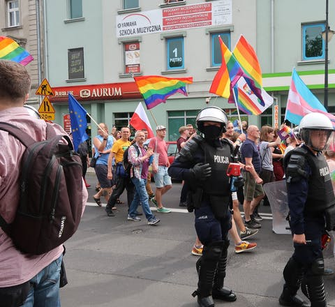 Pride walk in Plock, Polen. Aug 2019