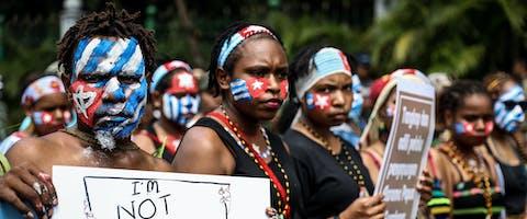 Protest in Indonesie voor onafhankelijkheid Papoea en tegen discriminatie
