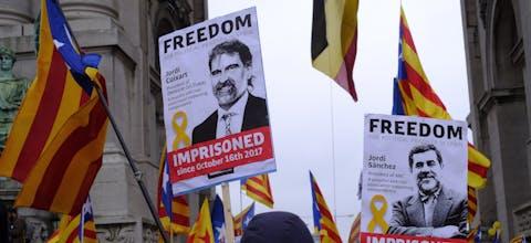 Demonstratie voor de onafhankelijkheid van Catalonië in Brussel