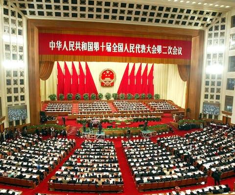 Het Nationaal Volkscongres, China's parlement, bijeen in vergadering in Beijing
