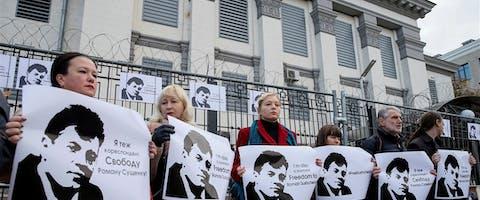 Protest tegen de gevanggenname van journalist Roman Sushchenko vanwege 'spionage'