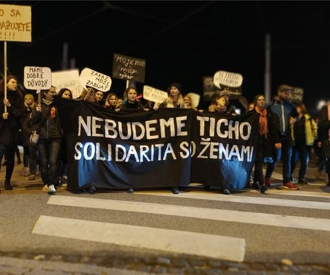 Demonstratie tegen repressieve abortuswetgeving in Bratislava in Slowakije, november 2019
