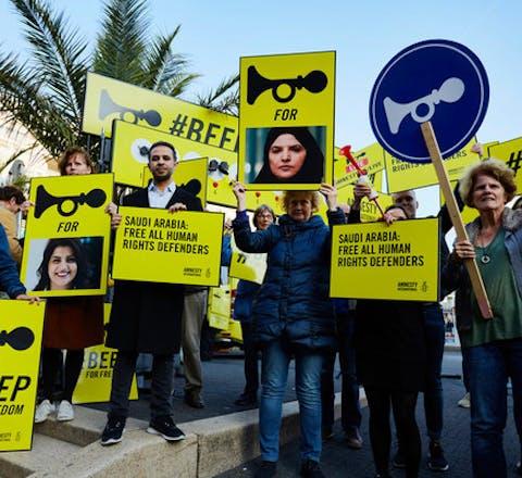 Actie voor de Saudische ambassade voor meer rechten voor vrouwen