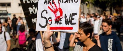 Protest in Parijs tegen de klimaatverandering