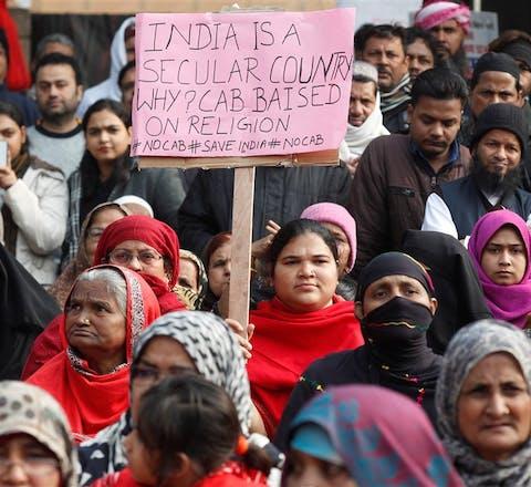 rotest in de Indiase hoofdstad Delhi tegen de aanpassing van de burgerschapswet