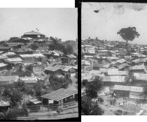 Panorama van vluchtelingenkamp Kutupalong aan de zuidoostkust van Bangladesh.