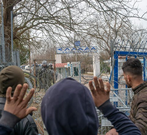 Migranten bij de Grieks/Turkse grens, maart 2020