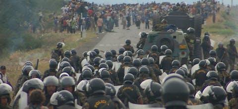 Politie grijpt in tijdens demonstratie in Bagua, Peru